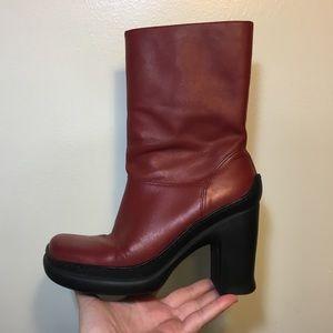 Vintage 90's Tommy Hilfiger Block Heel Red Boots
